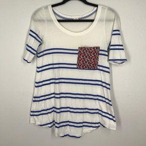 Anthropologie Tla blue white stripe top sz XS