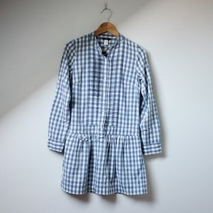 J crew Flannel gingham blue drop waist shirt dress