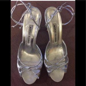 Manolo Blahnik Metallic Sil Ankle Wrap Sandal 35/5