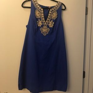 Lilly Pulitzer royal blue and gold shift dress💙
