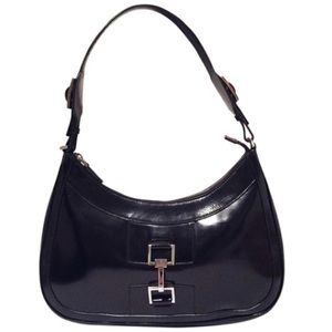 Gucci black patent leather hobo handbag