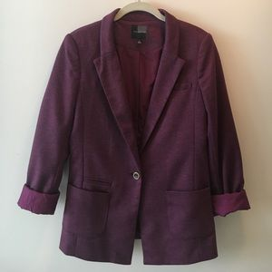 The Limited purple blazer with polka dot lining