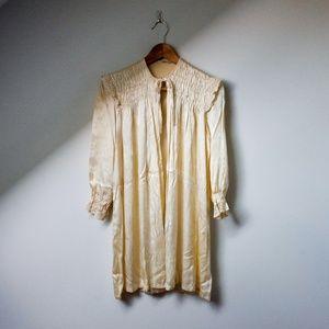 Vintage ivory satin open front jacket