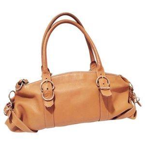 Prada camel leather satchel shoulder bag