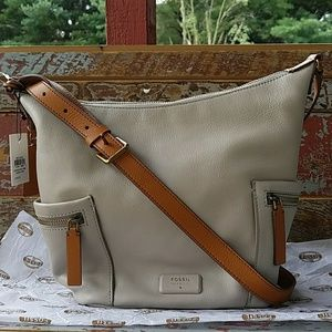 NWT Fossil Emerson Small Hobo in Mineral Gray