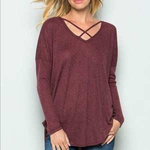 Brand New Women's Strappy Long Sleeve Top