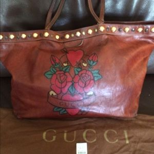 Gucci large floral leather tote authentic $1,250