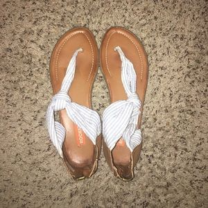 Blue and white strip sandals 8.5