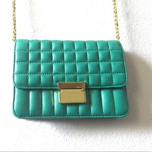 J Crew Classic  Quilted Learher Green Small  Bag