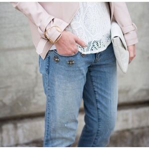 LOFT Jewel Embellished Relaxed Skinny Jeans