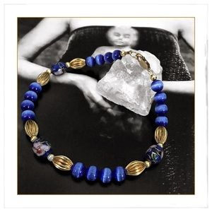 ✨Gold Filled Cloissone & Blue Cats Eye Bracelet✨
