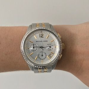 Michael Kors Two Tone Chronograph Watch with Pave
