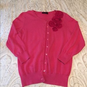 The Limited, small, pink floral Cardigan