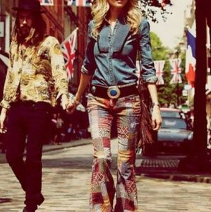 Free People Patchwork Flare Corduroy Jeans