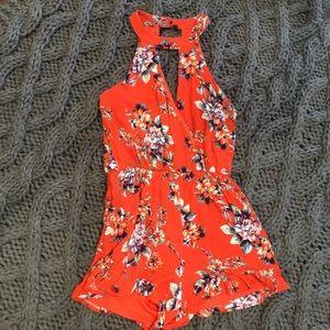 Ruffled Romper - Orange and floral