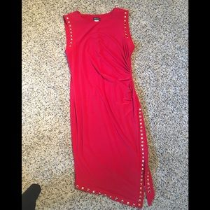 Red Ebellished Ruched Red Dress L