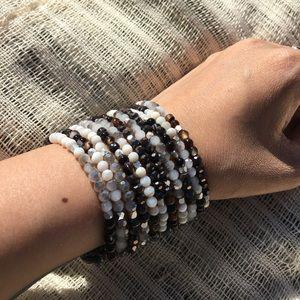 Bracelet silver, black and white