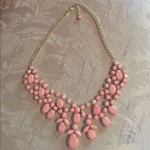 Pink/Coral Jeweled Necklace
