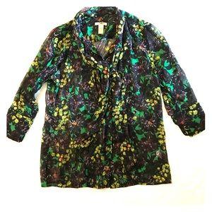 J. Crew 100% Silk Tie Front Button-up Blouse Sz 2