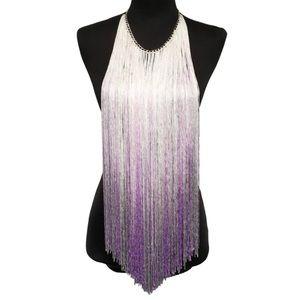 Waterfall yarn multicolor tassel necklace