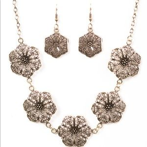 Brass Flower Necklace with Matching Earrings