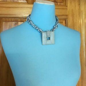 Large square pendant necklace