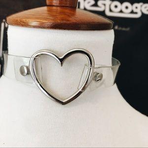 Transparent heart ring Choker