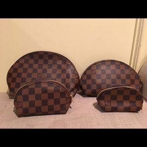 Brown Checkered Cosmetic Pouch