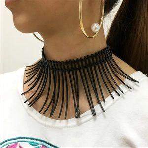 Black choker statement necklace