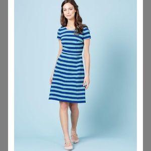 Boden Striped Maggie Ottoman Ponte Dress in Blue