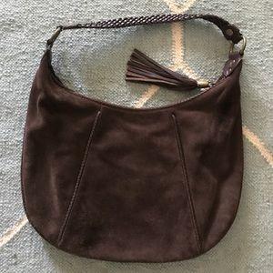 Harold's Leather & brown suede tassel purse