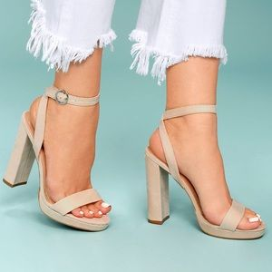 natural suede with platform ankle strap