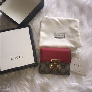 Gucci padlock GG supreme leather French wallet