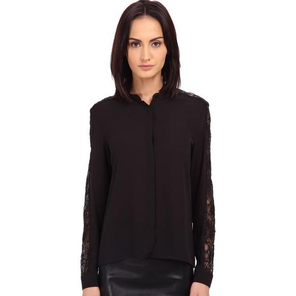 424d68ae43 The Kooples Black Crepe & Laminated Lace Shirt. M_59c13c194e95a37c6101239d