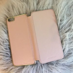 Accessories - Baby Pink Leather iPhone 6 Plus Wallet Case l