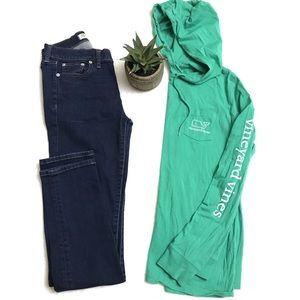 VINEYARD VINES Whale Hoodie Tee Shirt Green