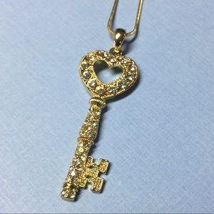 Jewelry - NEW Rhinestone Gold Key Necklace