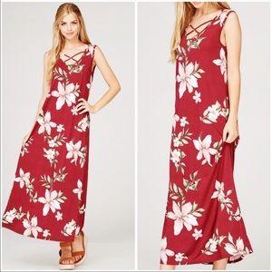 Dresses & Skirts - BURGUNDY SLEEVELESS FLORAL MAXI DRESS