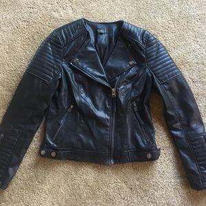 TopShop Black leather jacket with silver details