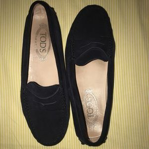 NAVY SUEDE TOD's LOAFERS