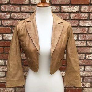 ASOS Cropped Tan Biker Jacket 100% Leather