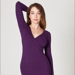 AmericanApparel cotton criss cross XS purple dress