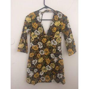 Zara mini dress 70s print