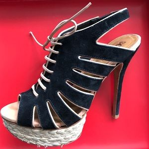 Worn once - new Schutz laceup sandal (box incl)