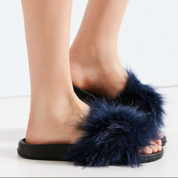 04f7bd5a6b2b Urban Outfitters Super Furry Glam Slides Navy Blue