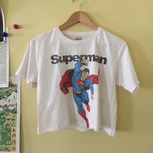 Superman raw edge crop top