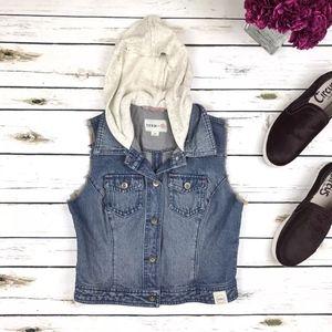 FEED for Target®  Blue Gray Hoodie Denim Vest