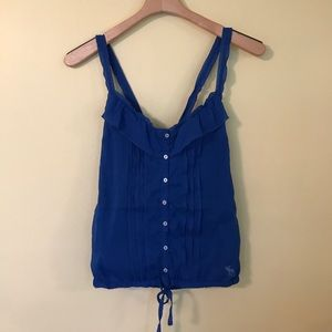 Abercrombie & Fitch Blue Ruffle Button Tank