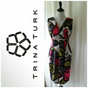 Trina Turk Graphic Print Scoop Back Sheath Dress