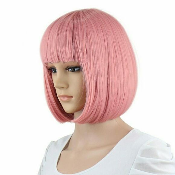 Accessories - Short Pink Bob Wig Bangs Cosplay Costume cc86038ad7d5